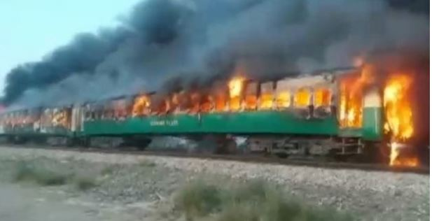 burning train