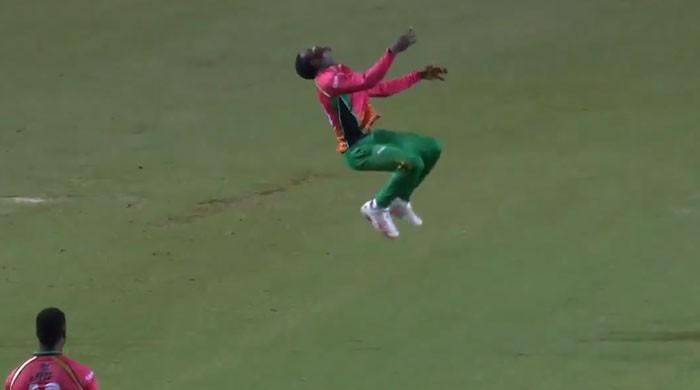 cricket player jumping
