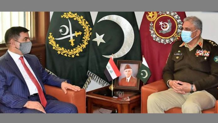 iraqi defence ministre meet with army chief gernal qamer javed bajwa