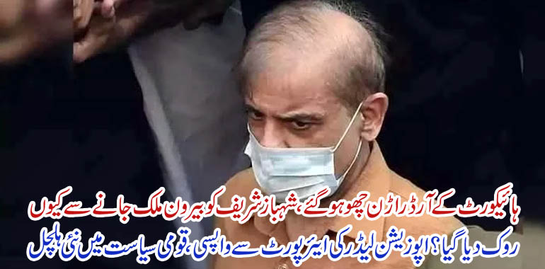 shahbaz sharif return back home from airport
